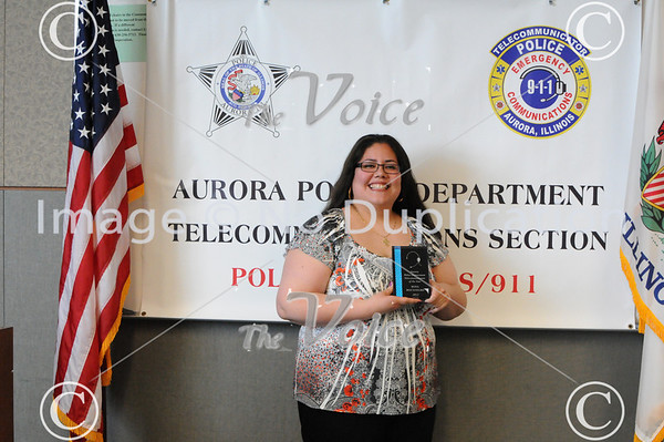 Aurora, IL Police 2012 Telecommunicator of the Year Award to Rosa Bocanegra 4-16-13