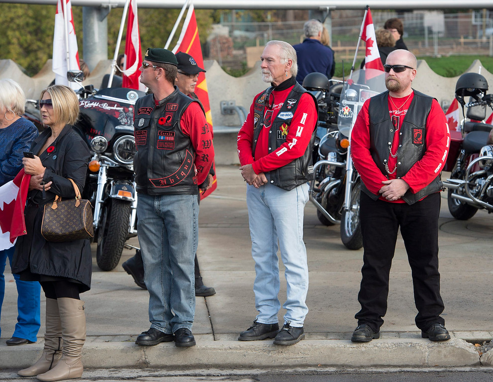 . Veterans attend the funeral procession for Cpl. Nathan Cirillo in Hamilton, Ontario,  on Tuesday, Oct. 28, 2014.    (AP Photo/The Canadian Press, Frank Gunn)