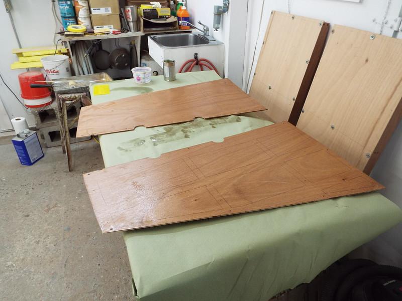 Rear deck skins with epoxy applied.