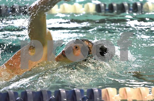 1/30/2018 Mike Orazzi | Staff Berlin's Aaron Gauvin during Tuesday's swim meet in Bristol.