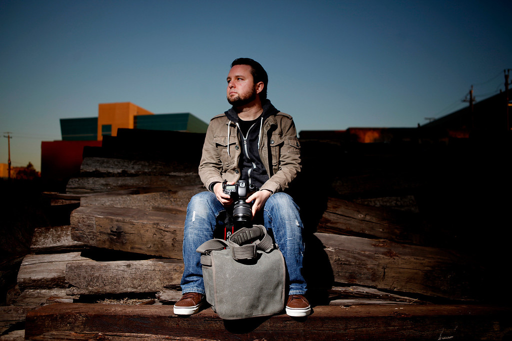 . Portrait of Josh Marcotte, 34, AKA Lost San Jose. Marcotte is a local photographer whose passion is documenting South Bay icons that are on the verge of disappearing. Photographed in San Jose, Calif., on Thursday, Aug. 1, 2013. (Josie Lepe/Bay Area News Group)