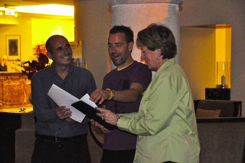 "Sue presenting Matej and Damjan their ""certicates of approval"" from our group"