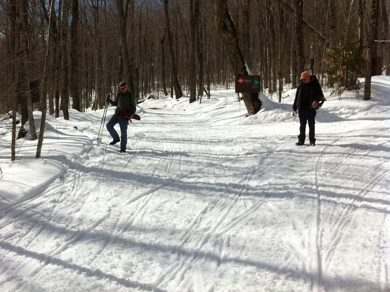 Eastern end of connector trail. Junction with 4&7. Snowshoers enjoying a sunny afternoon, came in from Gilman Road.