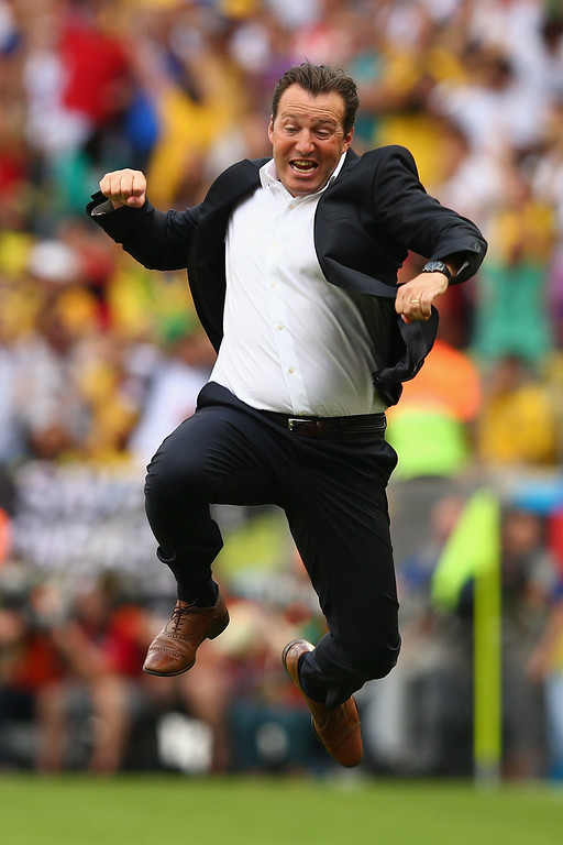 . Head coach Marc Wilmots of Belgium reacts after defeating Russia 1-0 during the 2014 FIFA World Cup Brazil Group H match between Belgium and Russia at Maracana on June 22, 2014 in Rio de Janeiro, Brazil.  (Photo by Clive Rose/Getty Images)