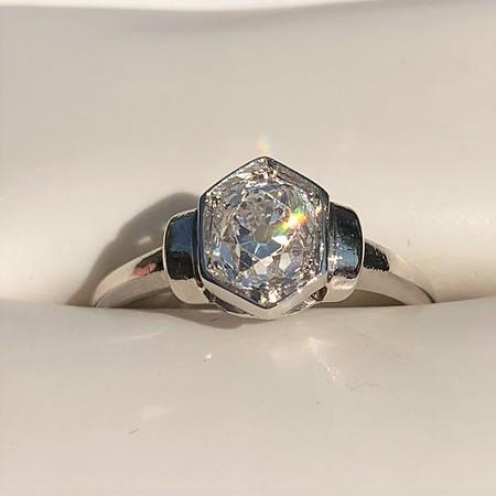 .80ct Old Mine Cut Hexagon Solitaire