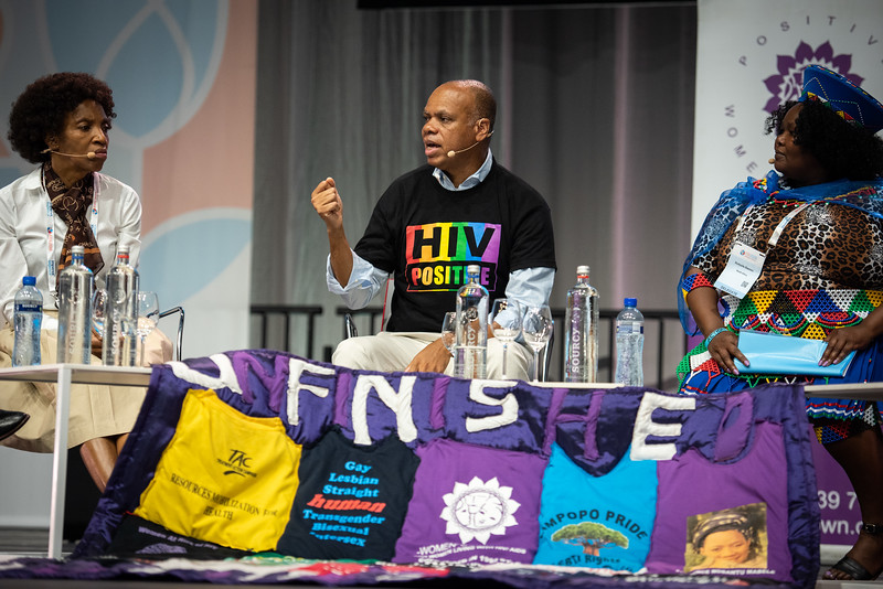 22nd International AIDS Conference (AIDS 2018) Amsterdam, Netherlands.   Copyright: Steve Forrest/Workers' Photos/ IAS  Photo shows: Special Session: The legacy of Prudence Mabele: Championing gender justice and health equity. From Left to Right: Princess Nothemba (Nono) Simelela, World Health Organization, Switzerland; Patrick Gaspard, Open Society Foundations;22nd International AIDS Conference (AIDS 2018) Amsterdam, Netherlands.   Copyright: Steve Forrest/Workers' Photos/ IAS  Photo shows: Special Session: The legacy of Prudence Mabele: Championing gender justice and health equity. From Left to Right: Patrick Gaspard, Open Society Foundations, United States; Prudence Mabele Prize winner, Duduzile (Dudu) Dlamini.