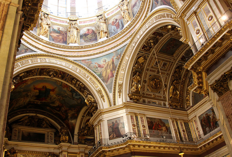 Interior (below the main dome) of St Isaac's cathedral.