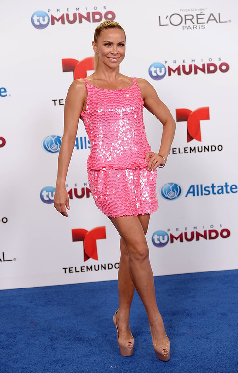. MIAMI, FL - AUGUST 15:  Aylin Mujica arrives for Telemundo\'s Premios Tu Mundo Awards at American Airlines Arena on August 15, 2013 in Miami, Florida.  (Photo by Gustavo Caballero/Getty Images)