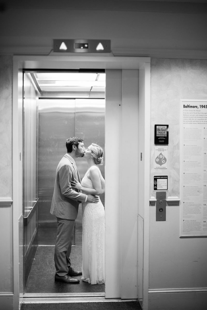 Elevator at 1840s Plaza wedding in Baltimore. For more information from Baltimore's top wedding photographer Jalapeno Photography, see http://www.jalapenophotography.com