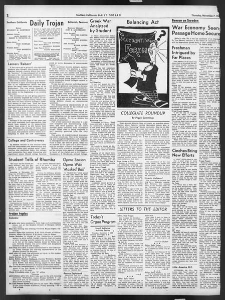 Daily Trojan, Vol. 32, No. 39, November 07, 1940