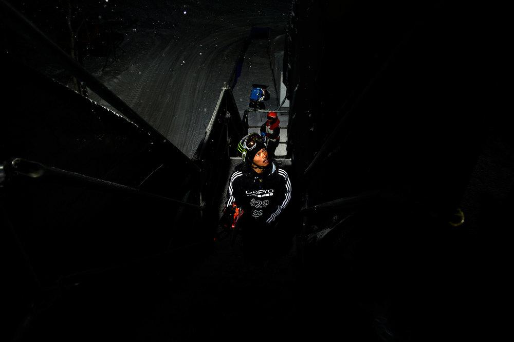 Description of . ASPEN, CO. - JANUARY 24: Kazuhiro Kokubo climbs to the deck during the men's Snowboard Superpipe elimination. Men's Snowboard Slopestyle elimination X Games Aspen Buttermilk Mountain Aspen January 24, 2013 (Photo By AAron Ontiveroz / The Denver Post)