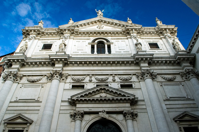 Facade of San Salvador church, San Marco quarter, Venice, Italy