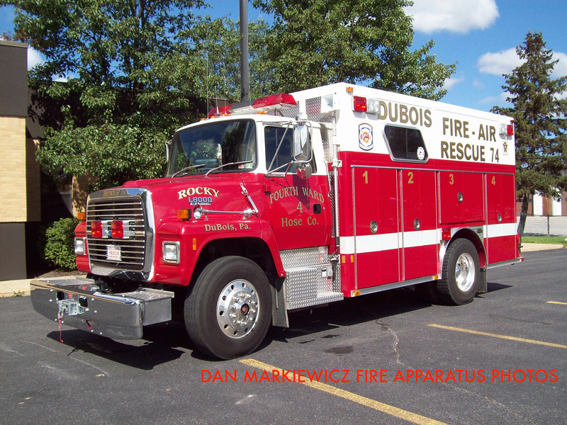 FOURTH WARD HOSE CO. DUBOIS RESCUE 74 1990 FORD/E-ONE RECUE