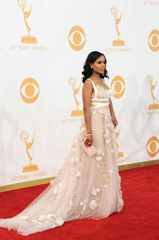 . Kerry Washington, wearing Marchesa, arrives at the 65th Primetime Emmy Awards at Nokia Theatre on Sunday Sept. 22, 2013, in Los Angeles.  (Photo by Jordan Strauss/Invision/AP)
