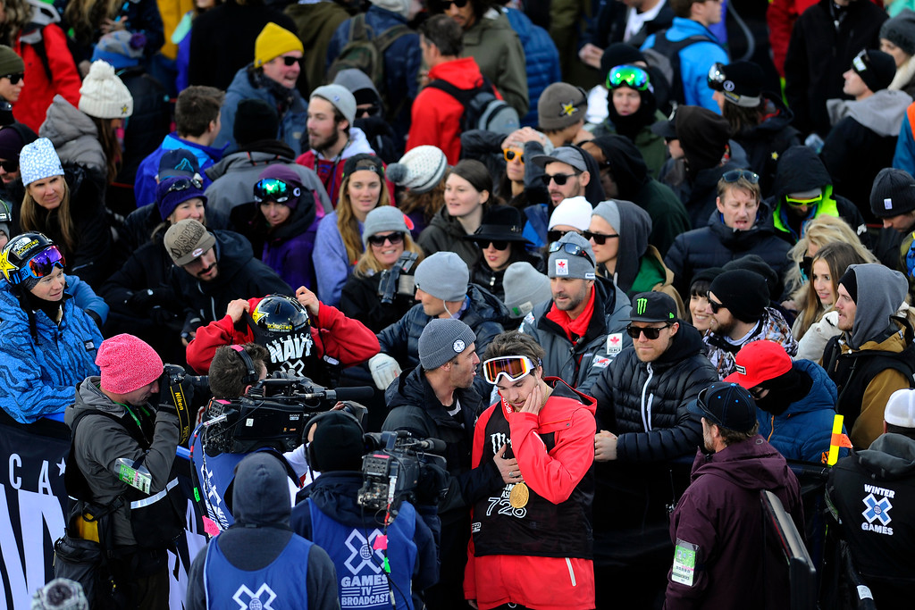 . ASPEN, CO. - JANUARY 25:  Simon d\'Artois takes a quiet moment after winning gold at the Ski Superpipe Men\'s Finals at Winter X Games 2015, Sunday, January 25.  (Photo By Mahala Gaylord/The Denver Post)
