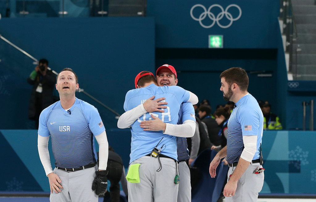 . United States team celebrates winning the men\'s final curling match against Sweden at the 2018 Winter Olympics in Gangneung, South Korea, Saturday, Feb. 24, 2018. (AP Photo/Natacha Pisarenko)