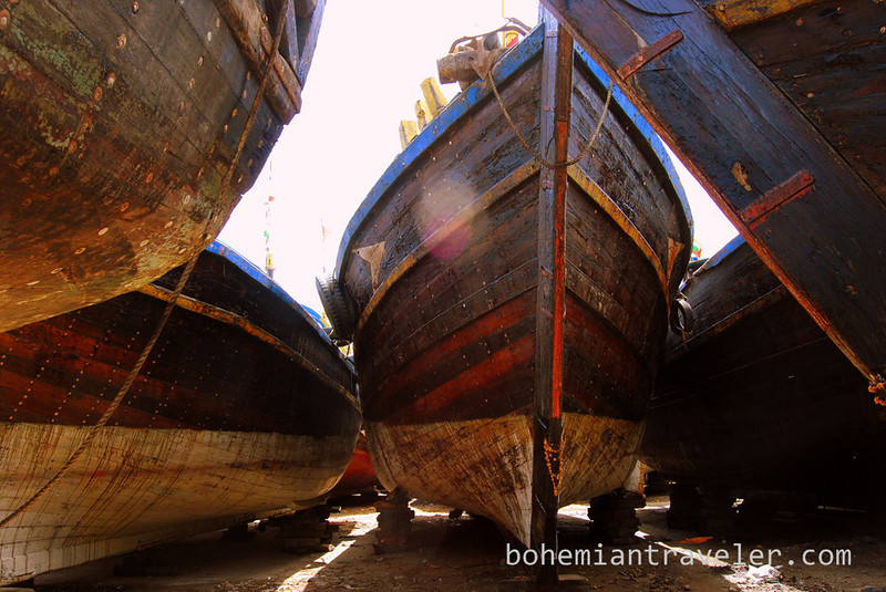 Boats on dry dock near Vanabara, Diu
