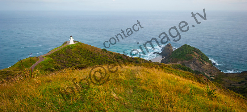 The view down to the Cape Reinga and Lighthouse at dawn