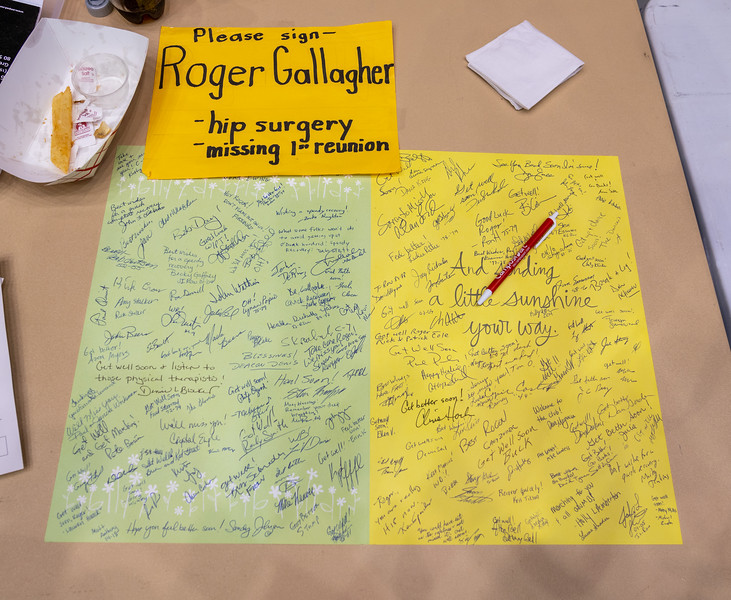 One of TWO giant cards filled with well wishes for Roger