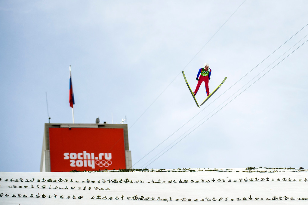 . KRASNAYA POLYANA, RUSSIA  - JANUARY 20: Norway\'s Magnus Krog competes in the Nordic Combined Team Gundersen LH during the 2014 Sochi Olympics Thursday February 20, 2014. jumped meters. Krog jumped 124.5 meters. (Photo by Chris Detrick/The Salt Lake Tribune)