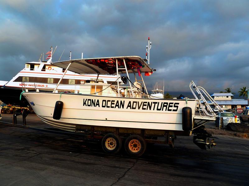 The Kona Ocean Adventures boat we're going night snorkeling on...