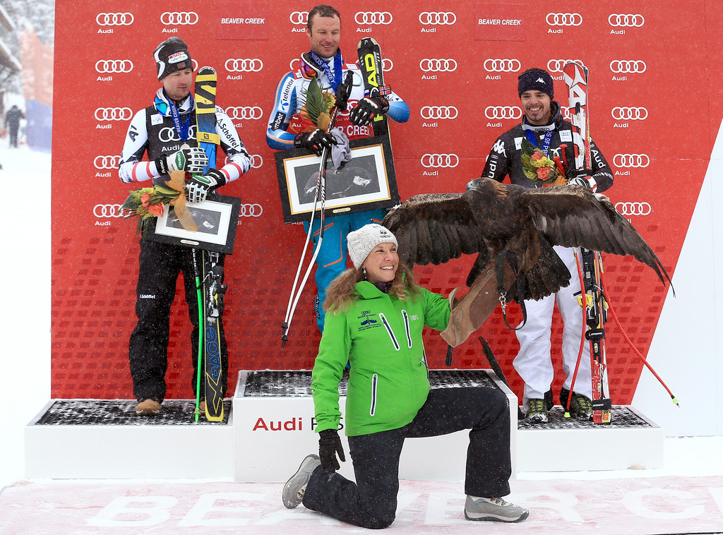 . (L-R) Reichelt Hannes of Austria, Aksel Lund Svindal of Norway and Peter Fill of Italy react on the podium after the men\'s downhill race for the Birds of Prey Audi FIS Ski World Cup on December 6, 2013 in Beaver Creek, Colorado.  (Photo by Doug Pensinger/Getty Images)