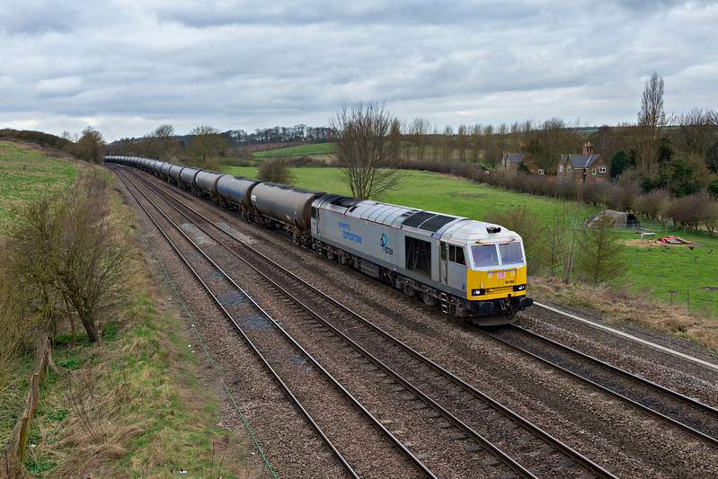 DB Class 60066 Drax heads Kingsbury to Humber empties near New Barnetby