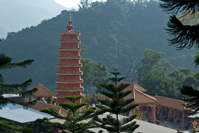 Pagoda towering over the courtyard in 10,000 Buddhas temple