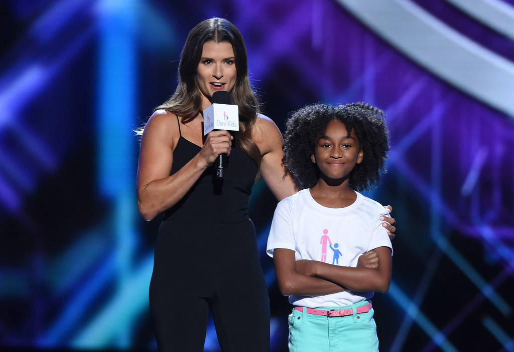 . Danica Patrick, left, and Aalyrah Caldwell appear at the ESPY Awards at  Microsoft Theater on Wednesday, July 18, 2018, in Los Angeles. (Photo by Phil McCarten/Invision/AP)