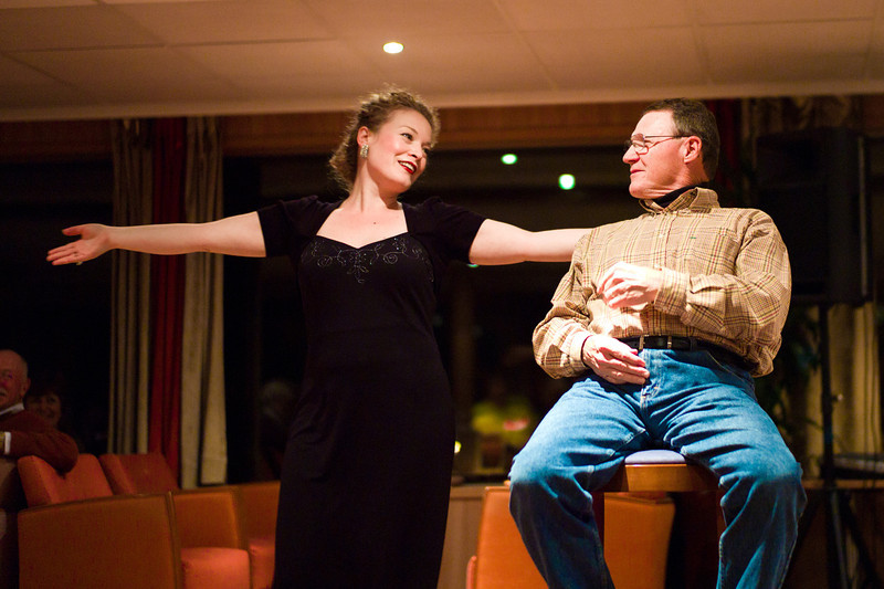 Opera singer on our last night on the ship