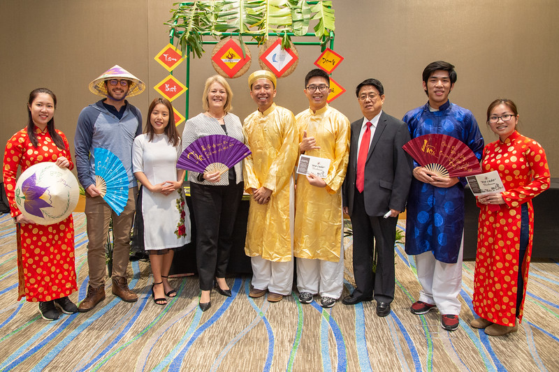 Kelly M. Quintanilla (president) and the Vietnamese Student Association at the Food Tasting and Cultural Exhibition at the Anchor Ballroom.