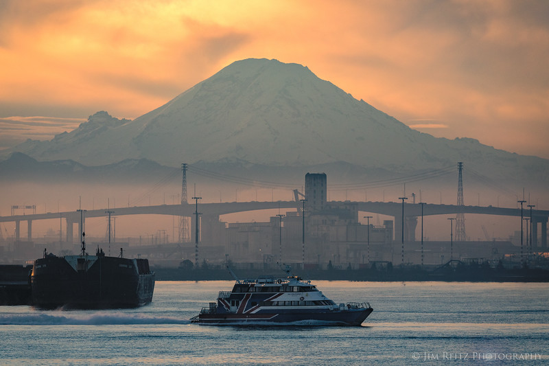 Early morning in Seattle's Elliot Bay - as Mount Rainier looms over the background.