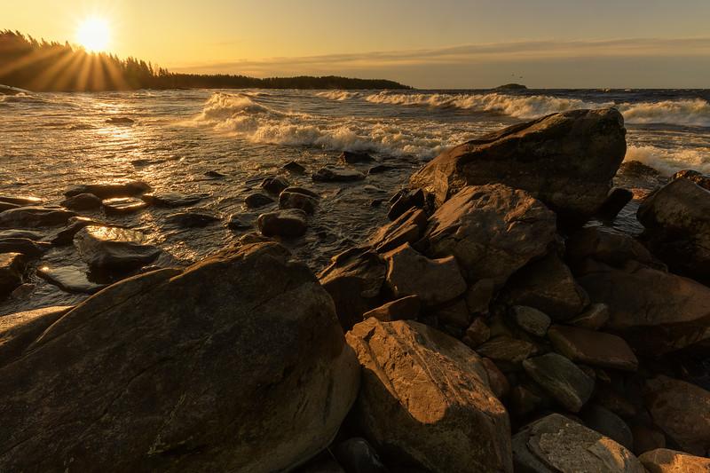 Windy sunrise on Lake Ladoga