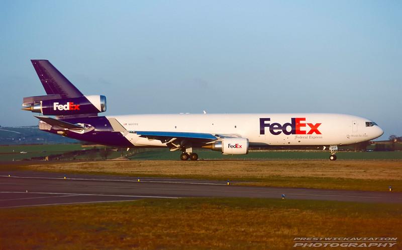 N617FE. McDonnell Douglas MD-11F. FedEx. Prestwick. January. 1996.