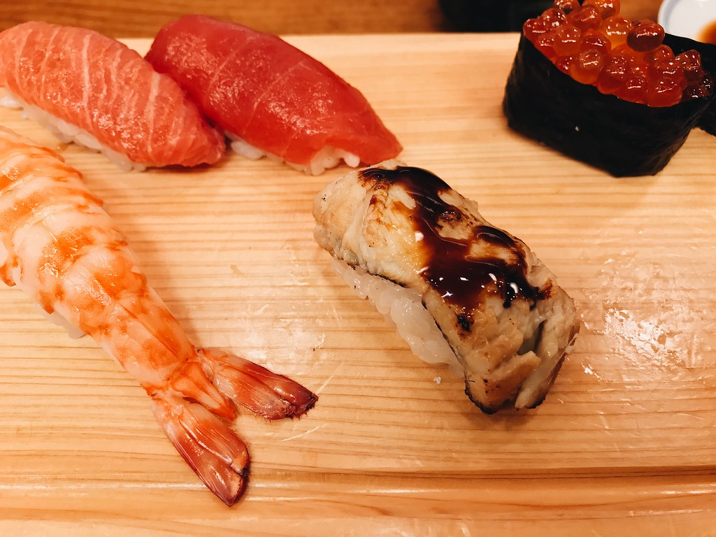 Left to right: Prawn, fatty tuna, lean tuna, anago (seawater eel), ikura.