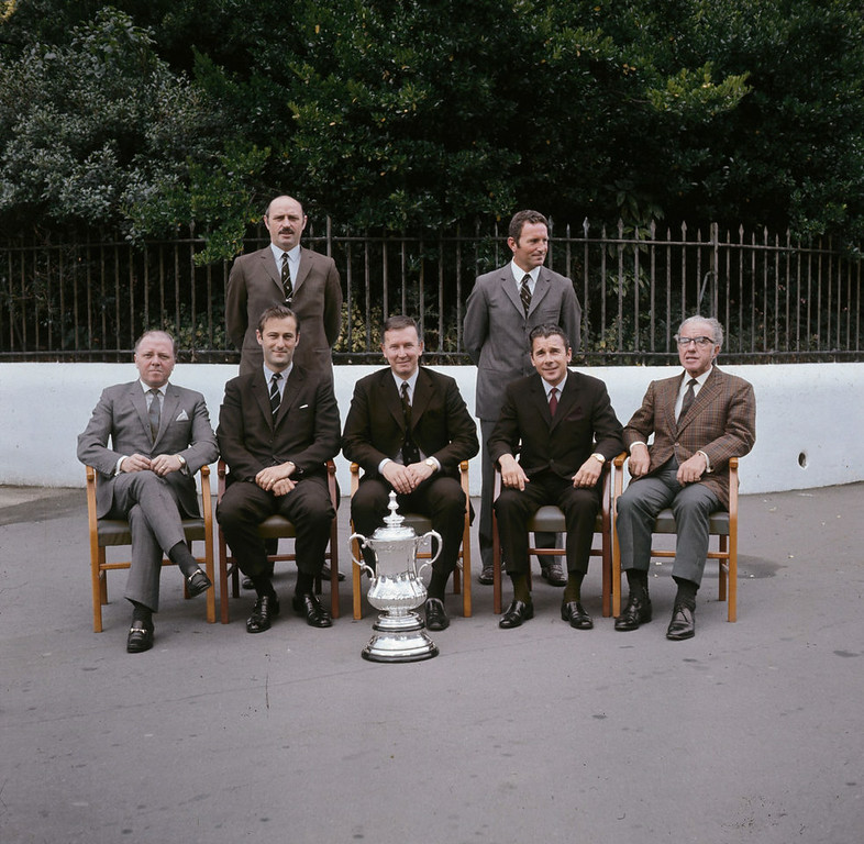 . British Film Actor And Director Lord Richard Attenborough Dies Aged 90 1970:  The directors of Chelsea Football Club, including film director and actor Richard Attenborough (seated left) and Dave Sexton (standing right), with the FA Cup trophy.  (Photo by A. Jones/Express/Getty Images)