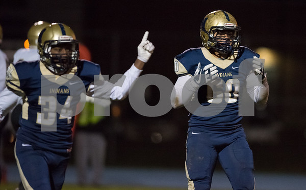 11/09/17 Wesley Bunnell | Staff Newington football hosted East Hartford on Friday night. Isayah Burgos (60) reacts after a big defensive stop.