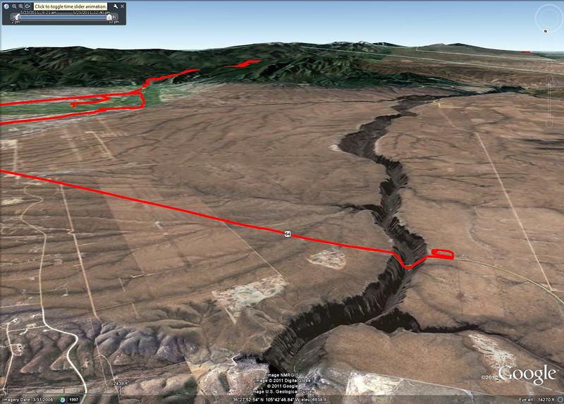 Rio Grande Gorge west of Taos The gps track and Googl Earth does not display bridges very well.  This is facing south.  The green area to the left is Taos.  The little loop to the right is the scenic overlook area where we watched the sun go down and light up the clouds and mountains.