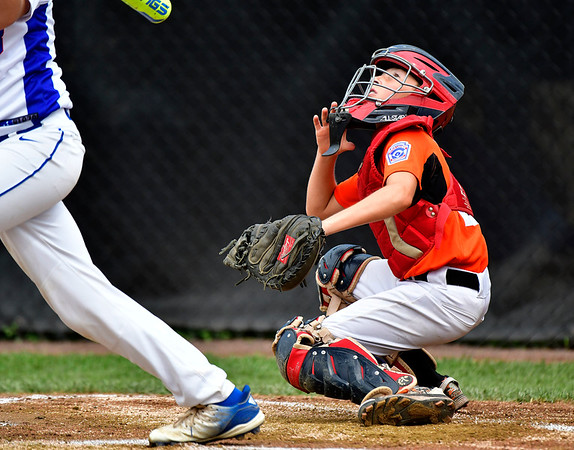 8/6/2019 Mike Orazzi | Staff Pennsylvania's Lucas Martz (22) during their second game of the Little League Mid-Atlantic regional on Aug. 6, 2019 at Breen Field in Bristol, Ct.