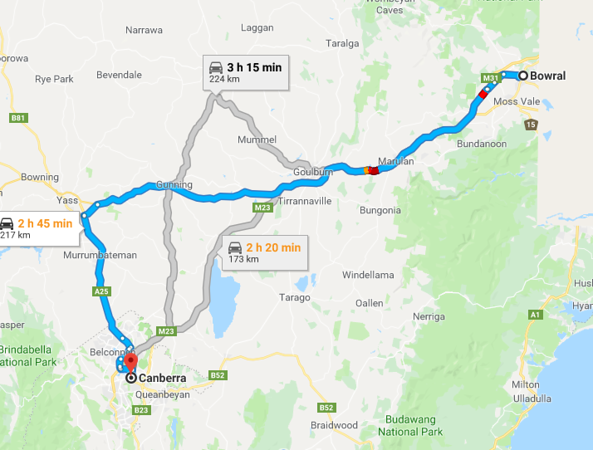 Map from Bowral to Canberra