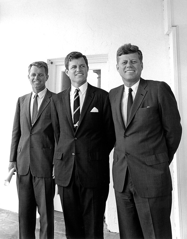 . President Kennedy and his brothers, Attorney General Robert F. Kennedy, left, and Sen. Edward M. Kennedy stand outside the Oval Office on Aug.  28, 1963. Cecil Stoughton, John F. Kennedy Presidential Library and Museum