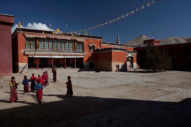 Shree Mahakaruna Sakyapa School, a school for young monks is inside the premises of Chode Goempa. Lo Manthang, Mustang, Nepal.