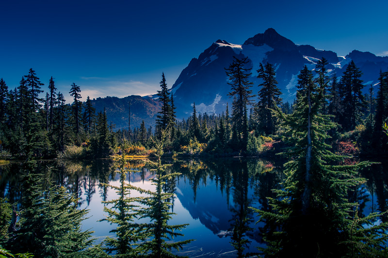 Mount Shuksan's reflection during Fall in the Mount Baker-Snoqualmie National Forest, Washington State, USA