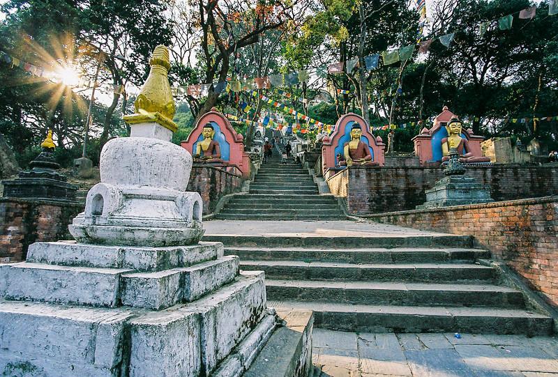 Stupa on the steps leading up to Swayambhunath
