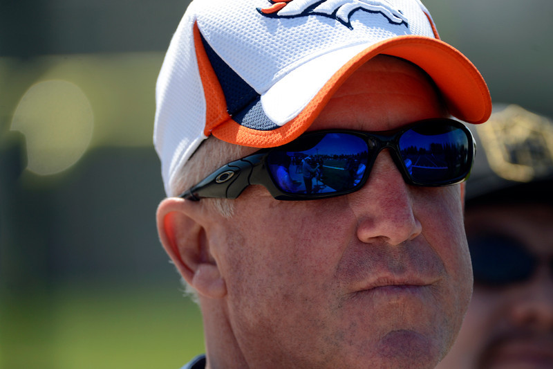 . Broncos head coach John Fox watching rookie minicamp at the Broncos Dove Valley facility May 10, 2013 Centennial, Colorado. (Photo By Joe Amon/The Denver Post)
