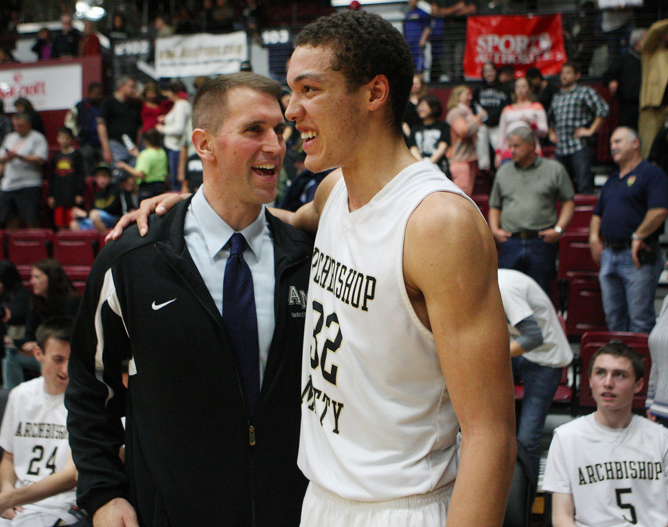 . Mitty coach Tim Kennedy and Aaron Gordon are all smiles after the game during the CCS Open Division boys basketball finals at Santa Clara University in Santa Clara, Calif. on Saturday, March 2, 2013. The Archbishop Mitty Monarchs beat the Serra Padres, 55-46. (Jim Gensheimer/Staff)