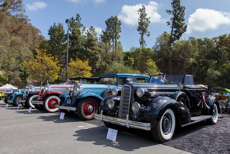 (R-L) 1936 LaSalle Convertible,1931 Cadillac 355 A Sedan,1930 LaSalle 340 Phaeton