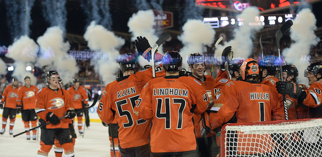. Anaheim Ducks celebrate after defeating the Los Angeles Kings 3-0 and bing named one of the stars of the game during the inaugural NHL Stadium Series game at Dodger Stadium in Los Angeles on Saturday, Jan. 25, 2014. (Keith Birmingham Pasadena Star-News)