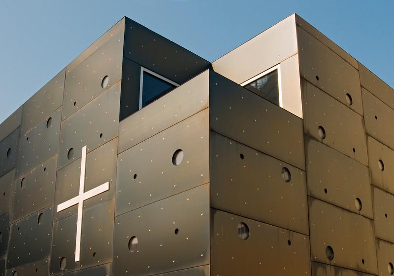 Donau City Church (Donaucitykirche) aka 'Christus, Hoffnung der Welt' ('Christ, Hope of the World'), Roman Catholic Church designed by Architect Heinz Tesar, Vienna Donaucity (Donaustadt), Austria