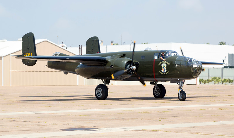 "Now at the Lone Star Air Museum.  B-25, ""Mitchell"" taxiing in from a flight."